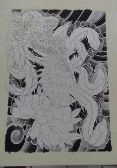 Phoenix painting Phoenix Painting, Phoenix Art, Small Phoenix Tattoos, Phoenix Tattoo Design, Cloud Tattoo, Traditional Ink, Japanese Tattoo Art, Japan Tattoo, Infinity Tattoos