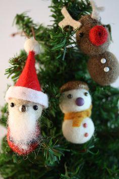 Felt balls Christmas ornament set of 3 felted acorn by HoneyCanada, $21.00