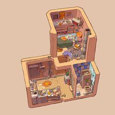 Bedroom Drawing, Sims House Design, Drawn Art, Isometric Art, Fantasy House, Building Art, Cute House, Environment Concept Art, Environment Design