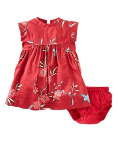 Red Floral Party Dress & Diaper Cover - Infant | Daily deals for moms, babies and kids
