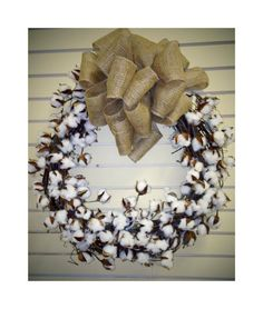 Cotton Grapevine Wreath
