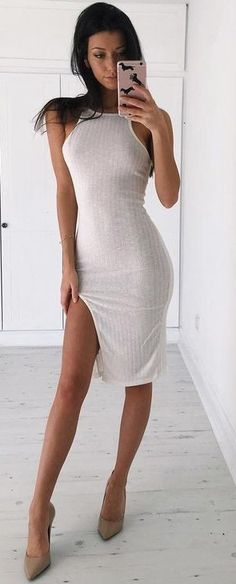 White Ribbed Bodycon                                                                             Source