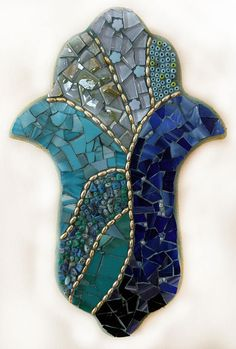 Blue and gold handmade hamsa, stained glass mosaic with beads ready to hang for a gift or home decor