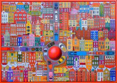 Crossroads in fantasy city acrylic 100x70cm
