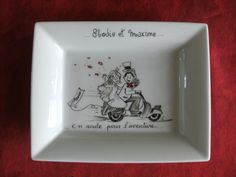 Cadeau de mariage , vide-poche personnalisé peint à la main reproduction faire-part.