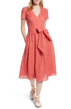 Cotton Eyelet Short Sleeve Dress, Main, color, Coral Sugar