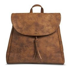 Women's Solid Backpack Handbag with Front Tassel - Cognac
