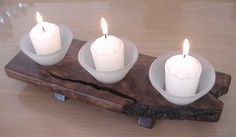 Natural edge plank with votive candles