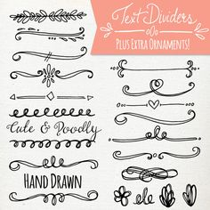 Doodly Text Divider Clip Art // ABR Photoshop by thePENandBRUSH