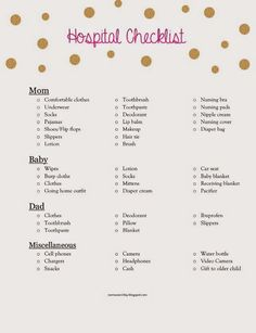 what to pack, printable hospital bag checklist, labor and delivery http://rasmussen2day.blogspot.com