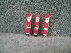 Mini painted Clothespins Santa by nibby on Etsy