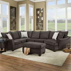 Chelsea Home Furniture Cupertino 3 Piece sectional Sofa Flannel Espresso 3 Piece Sectional Sofa, Sofa Couch, Couch Furniture, Living Room Furniture, Gray Sectional, Couches, Kids Furniture, Modern Sectional, Modern Furniture