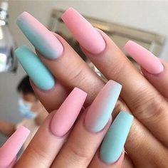 75 The Most Beautiful Ombre Acrylic Nails Designs You'll Like acrylic nail designs - Nail Desing Summer Acrylic Nails, Best Acrylic Nails, Summer Nails, Pastel Nails, Nail Pink, Beige Nail, Colorful Nails, Ombre Nail, Black Nail