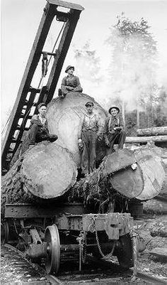 Cherry picker (logging crane) crew :: MacMillan Bloedel Limited fonds