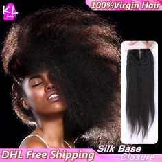 7A Brazilian Kinky Straight Silk Base Closure With Baby Hair Bleached Knots Human Hair Free/Middle/3 Part Silk Lace Closure