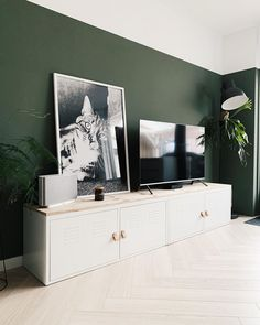 Living Room Green, New Living Room, Home And Living, Living Room Decor, Oval Room Blue, Green Accent Walls, Green Wall Decor, Dining Room Paint, Home And Deco