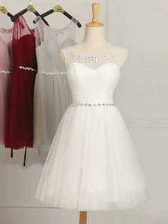A Line Scoop Neck Tulle Ruffles White Short Mini Bridesmaid Dress Dama Dresses, Grad Dresses, Quinceanera Dresses, Dresses For Teens, Homecoming Dresses, Short Dresses, Elegant Dresses For Women, Pretty Dresses, Beautiful Dresses