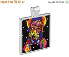 55% Off Today- Airedale Terrier Dog Folk Art Jewelry - Pendant Metal Gift Art Heather Galler Gift - Pet Lovers Modern Abstract Memorial Gif