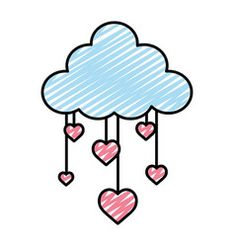 Doodle nature fluffy cloud and hanging hearts vector Easy Doodle Art, Kawaii Doodles, Simple Doodles, Hanging Hearts, Vector Free, Typography, Design Inspiration, Clouds, Embroidery