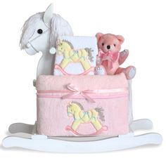 Baby Girl Gift Set by Silly Phillie® | Classic White Rocking Horse
