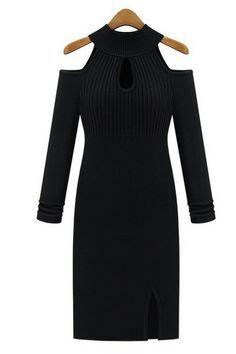 Pure color long sleeve elastic sweater dress_Dresses_CLOTHING_Voguec Shop