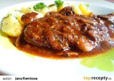 Pikantní krkovice na žampionech recept - TopRecepty.cz No Salt Recipes, Meat Recipes, Cooking Recipes, Czech Recipes, Food 52, Easy Cooking, Chili, Pork, Food And Drink