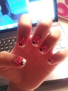 Minnie Mouse Nails for her trip to Disney with Grandma J