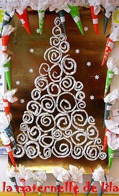 Idée pinterest : décorer la porte de classe à moindre coût pour noël