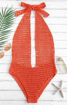 Elegant Mesh swimwear Halter Crochet One Piece Swimsuit - Pumpkin Orange Underpinning a modern shape Crochet Bikini Pattern, Swimsuit Pattern, Crochet Crop Top, Motif Bikini, Bikini Mode, Crochet Lingerie, Crochet Bathing Suits, Crochet One Piece, Crochet Fashion