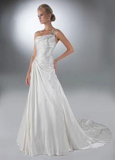 Da Vinci Wedding Gown ~ Beautiful One Strap Charmeuse Gown, Beaded Strap and Hip Detail ~ Lasting Impressions Sioux Falls, SD
