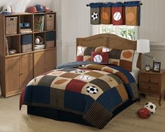 I really like the traditional look of this quilt, Classic Sports.  The colors and the theme are perfect for the young boy looking for a sporty feel to his room.