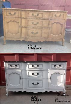 French Provincial dresser/ buffet painted white with a black top and black hardware before and after pictures. Refinished by Kelly's Creations. https://www.facebook.com/KellysCreationsFurniture