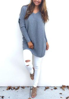 Stay comfy all day in this grey sweater. Features with long sleeve and v neck design, pairing it with your tight pants would be perfect. See more amazing items at Fichic.com!