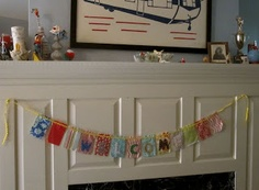Kids can sew a cute bunting Welcome sign or Happy Birthday.