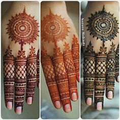 "Sarara Mehndi Artist ( ""The gorgeous stages of natural mehndi ♥ I have so many backlogged bridal uploads to come, but I…"" Round Mehndi Design, Mehndi Designs Book, Indian Mehndi Designs, Mehndi Designs 2018, Mehndi Designs For Girls, Modern Mehndi Designs, Mehndi Design Pictures, Mehndi Designs For Fingers, Henna Tattoo Designs"