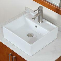 48 Square Vessel Sinks Bathroom Whtie Ceramic Sink Short Nickel