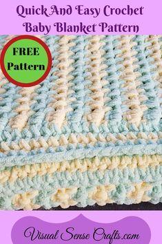 Bernat Blanket Patterns, Crochet Baby Blanket Free Pattern, Bernat Baby Blanket, Easy Baby Blanket, Easy Crochet Blanket, Baby Afghan Crochet, Quick Crochet, Free Crochet, Baby Blankets