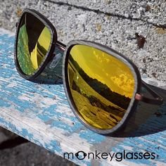 monkeyglasses / mirror lenses / sunglasses / summer / danish design/ biodegradable / fashion / style / details / yellow