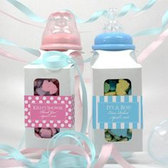 Bottle Hanger Favor Boxes with Personalized Icon Baby Shower Labels