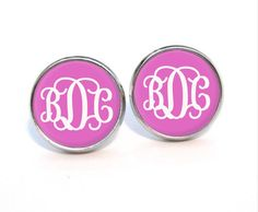 Hot pink background Monogram earring post gold by MonogramPendant, $6.99