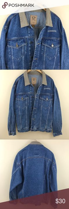 """Medium   Denim Button Down Jacket. Jean jacket with button down closure. Grey collar. Size medium. Has embroidery on chest; can be easily concealed with a super fun patch  Bust: 50"""" Length: 26"""" Jackets & Coats"""