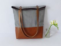 Tasche Canvas Canvas Shoulder Bag, Waxed Canvas, Shopper, Black Cotton, Real Leather, Etsy, Gym Bag, Tote Bag, Bags