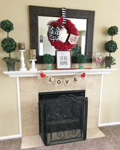 My Valentine's Day Mantle This Year
