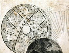 Theosophia revelata (1730). Detail.  Illustration of the Ophanim...an order of Angels whose charge it is to turn the wheels of creation