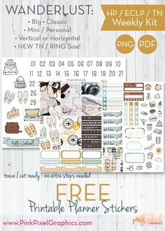 Free Printable Wanderlust Travel Planner Stickers {subscription required}. These free kits will fit just about any planner. See more at www.pinkpixelgraphics.com