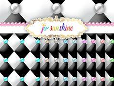 Opulent Diamond Tufted Pearl Black & White Paper Digital White Paper, Mall, My Etsy Shop, Invitations, Pearls, Black And White, Retro, Diamond, Digital