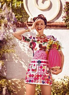 Moschino has brought back a great, retro, feminine style for S/S 2013.  Here is Egle Tvirbutaite. by Sergi Pons, for Flair Germany, June 2013.  Buy the dress here: http://www.saksfifthavenue.com/Moschino/Women-s-Apparel/shop/_/N-1z12v9kZ52flogZ6lvnb8/Ne-6lvnb7 #moschino #flairmag