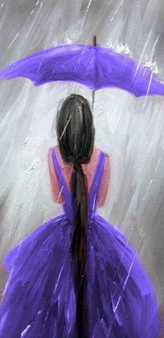 Purple Painting, Black Art Painting, Easy Canvas Painting, Simple Acrylic Paintings, Easy Paintings, Diy Painting, Painting & Drawing, Canvas Art, Umbrella Painting