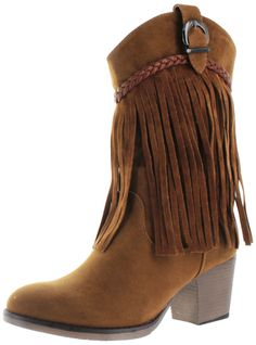 Square dance in style in the Signature Moda Essentials Womens Fringe Western Booties! These feature: Manmade Faux Suede Upper, Manmade Outsole, Side-Zip Closure