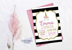 Unicorn Invitation - Unicorn First Birthday Invitation - Unicorn Birthday Invitation - Unicorn Invite - Unicorn Birthday Party Invitation by CreativePartyDesigns on Etsy Unicorn Birthday Invitations, Unicorn Birthday Parties, Girl Birthday, First Birthday Themes, First Birthdays, Birthday Ideas, Unicorn Printables, Party Guests, Party Planning